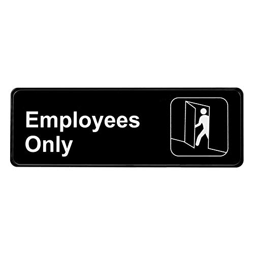 Alpine Industries Employees Sign - Self Adhesive Plastic Door & Wall Placard - Personnel & Employee Entrance Plate for Restaurant Kitchens & Commercial Area