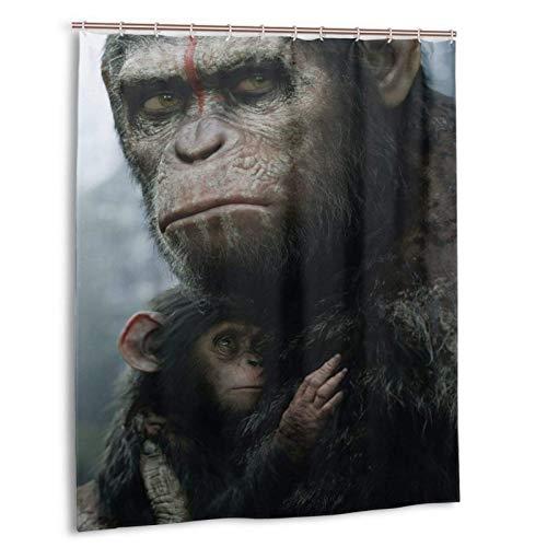 Dawn Planet Apes Duschvorhänge für Badezimmer, 60x72 Zoll Polyester beständiger 3D-Druck Wasserdichter Duschvorhang 12 Kunststoffhaken