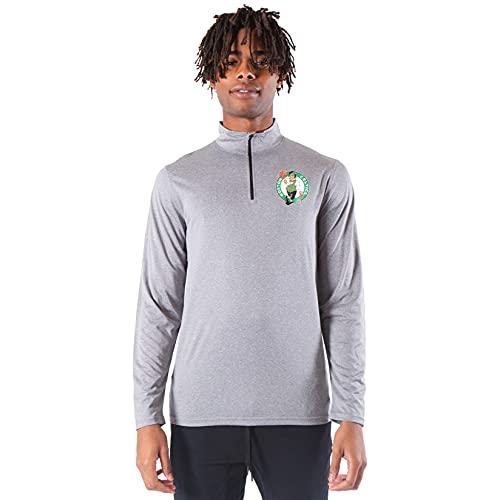 Ultra Game NBA Boston Celtics Mens Quarter Zip Pullover Long Sleeve Tee, Heather Charcoal19, Medium