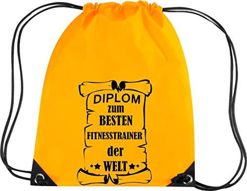 Camiseta stown Premium gymsac Diploma el mejor Fitness Entrenamiento del Mundo, dorado
