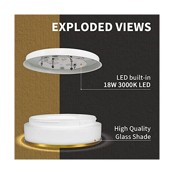 Modern LED Flush Mount Ceiling Light – Autelo 12″ 3000K Close to Ceiling Light Fixture with Frosted Glass Shade in Brass Finish for Living Room Hallway Bedroom C3127 BRZ LED