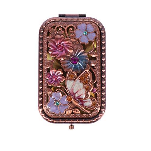 Beaupretty Vintage Taschenspiegel Retro Schmetterling Blume Kristall Tragbare Faltbare Make-Up Spiegel Double Side Compact Spiegel