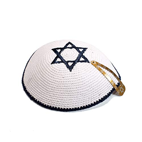 JL Kippha's Weiß und Dunkelblau Davidstern Cotton Kippah Yarmulke jüdischen Yamaka Kippa Israel Cap Judaica
