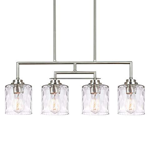 HONGLONG 28 Zoll (etwa 71,1 cm) Modernen Insel-Licht-Lampe 4, der zentrale Arm schwingbar + Gewicht Cut Glaswasc, einstellbare Aufhängungshöhe, gebürstet Nickeloberfläche