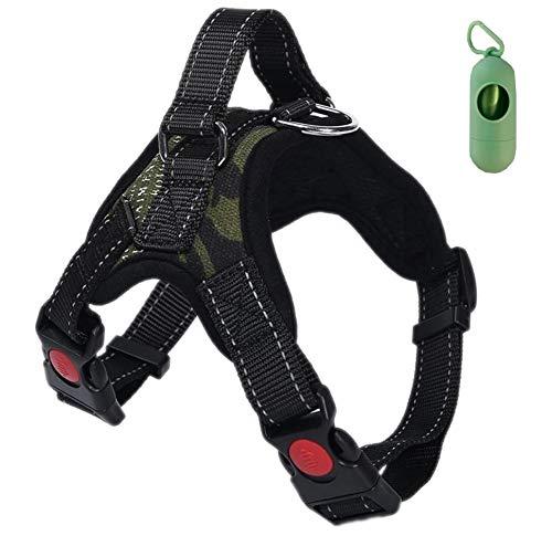 VF Arnés de perro Lex ajustable con asa superior apta para cualquier perro, ideal para caminar, correr y adiestramiento. Dispensador de bolsas higiénicas (L, camuflaje) ✅