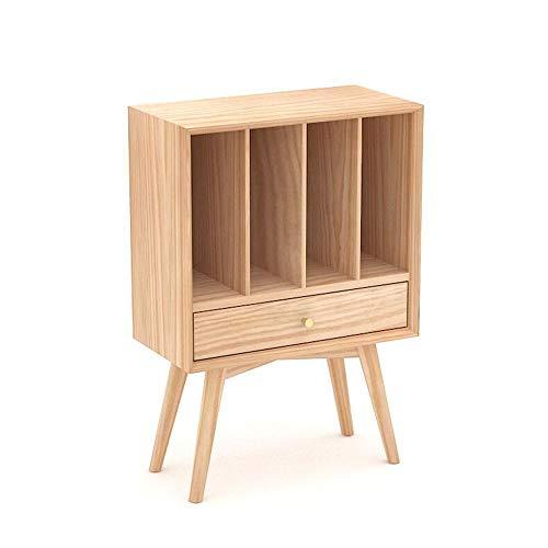 JCNFA boekenkast, massief hout, 4 roosters, houten organizer, boekenkast, tijdschriftenkast/nachtkastje, lade, zijkast, 2 kleuren 21.65 * 11.02 * 31.49in Wood Color