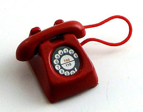 Melody Jane Miniatura para Casa de Muñecas Oficina Salón Dormitorio Rojo Accesorio Teléfono Retro