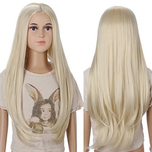 Kinder Lange Blonde Prinzessin Perücke -TANTAKO Kinder Halloween Kostüm Zubehör blonde Perücken synthetische Kostüm Perücken