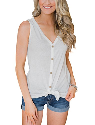 PRETTODAY Women's Summer V Neck Tank Tops Tie Front Button Up Sleeveless Shirts Casual Loose Blouses (Small, White, s)