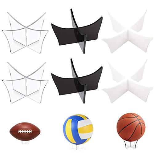 Jicyor 6pcs Soporte de Acrílico de Pelota Universal Soporte de Exhibición de Bola para Voleibol Fútbol Baloncesto y Rugby(Negro, Transparente, Acrílico)