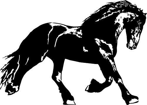 Aufkleber für Pferdeanhänger: Friesenpferd, Friese, Reiten, Tiere, Autoaufkleber // verschiedene Farben und Größen (Schwarz - 840 mm x 600 mm)