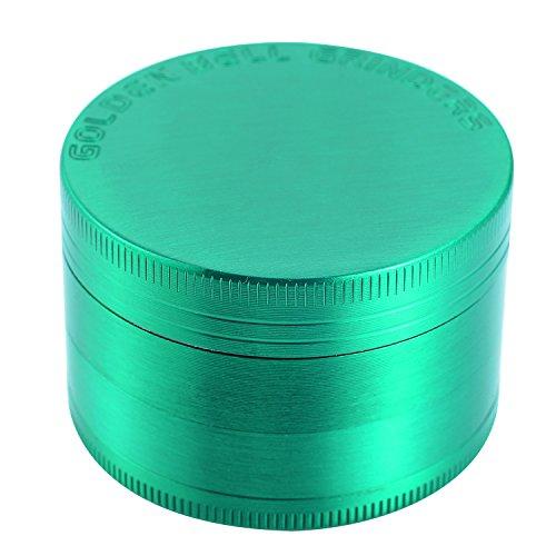 Golden Bell Herb Grinder 2″ Spice Herb Grinder 4 Layer Zinc Alloy Grinder with Sharp Grinding Teeth & Pollen Catcher Scraper – Green