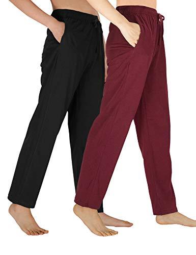 WEWINK CUKOO Damen Schlafanzughose Pyjamahose Baumwolle Nachtwäsche Schlafanzug Kurz geschnittene Sleep Hose mit Taschen