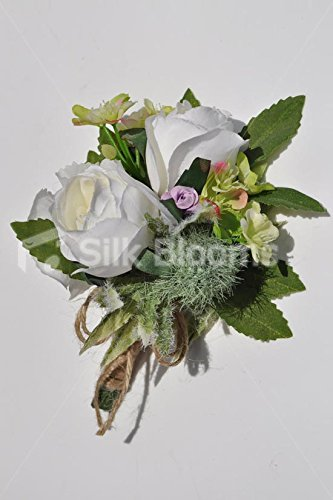 Country Vintage Roses Scottish Thistle & Wildflowers Wedding Corsage