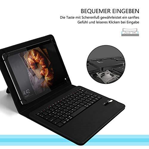 Jelly Comb Tastatur Hülle für 9-11 Zoll Tablet, Bluetooth Wiederaufladbare QWERTZ Tastatur mit Schützhülle für Allen 9-11 Zoll Tablets mit Android/iOS/Windows, Schwarz