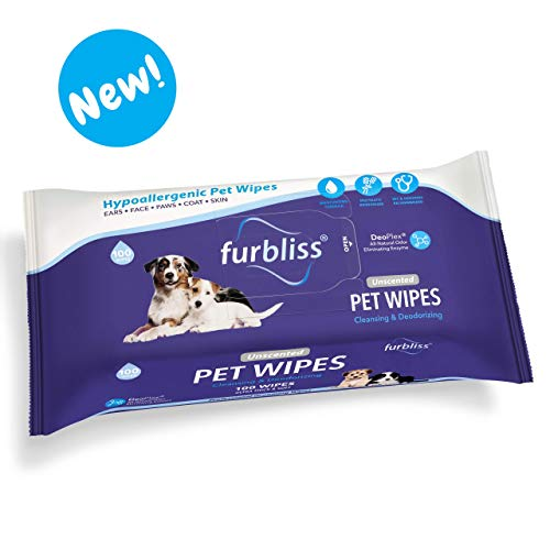 Furbliss Hygienic Pet Wipes for Dogs & Cats, Cleansing Grooming & Deodorizing Hypoallergenic Thick Wipes with All Natural Deoplex Deodorizer 100ct Pack
