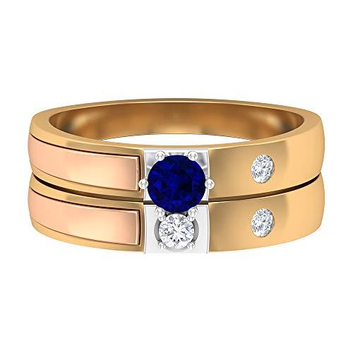 Anillo de zafiro azul solitario de 4,00 mm, anillo de diamante HI-SI, anillo de boda de 3 tonos, juego de anillos de boda de oro (calidad AAAA), oro de 14 quilates, Metal, Diamond Blue Sapphire,