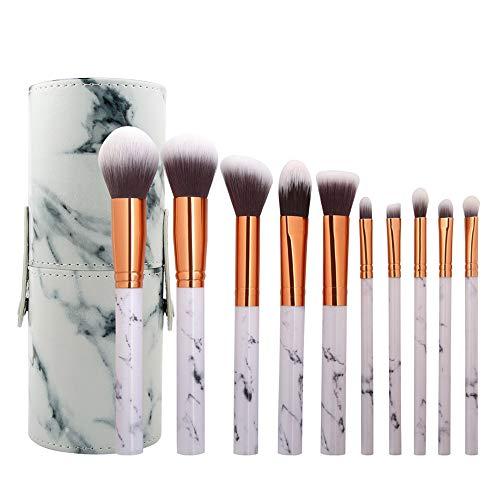 Scpink Make-up-Pinsel, Make-up-Pinsel, Kombination aus Marmor, Nylon, Griff aus Kunststoff, Kosmetik-Eimer, Weiß - Weiß 3 - Größe: 19*12*2 cm
