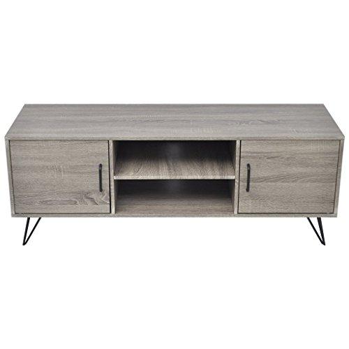 Festnight Meuble Banc TV Table de Chevet Design Scandinavee en MDF 120 x 40 x 45 cm Gris