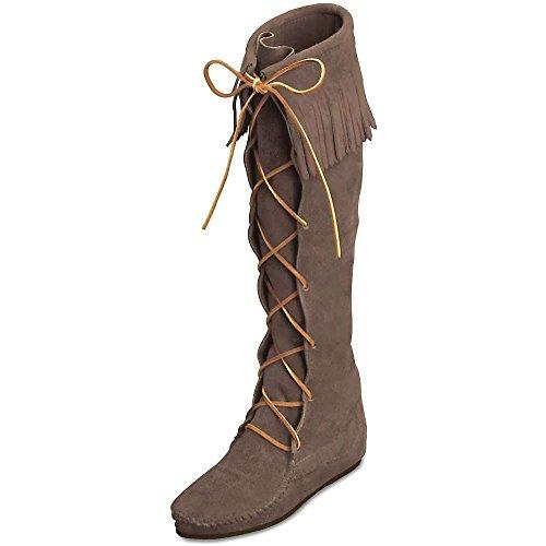 Minnetonka Women's Front Lace Knee-Hi Boot,Dusty Brown,9 M US