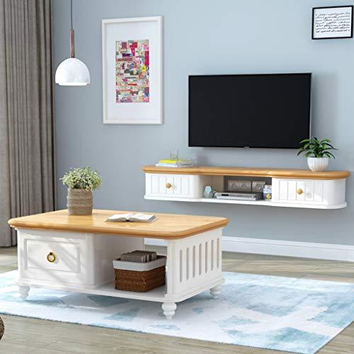 GDF-SCHWIAIDE, wandmeubel gemonteerde tv-kast mediaconsole pine TV moderne woonkamer floating-tv-kast met twee schuifladen staande tv-kast hangend