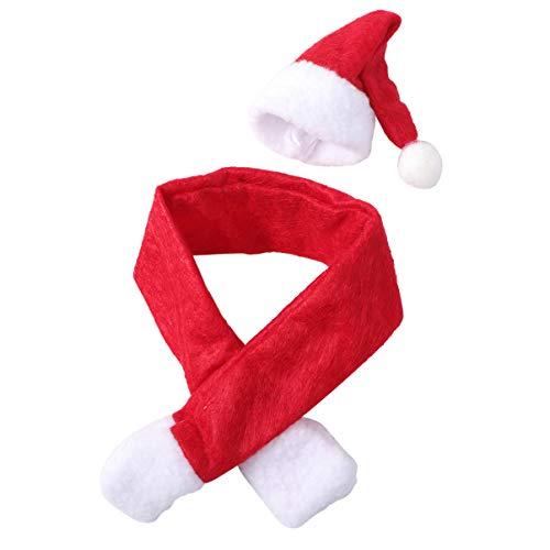 WINOMO 6 Set Mini Cappello di Babbo Natale E Sciarpa Natalizia per Porta Argenteria Natalizia Copertine per Caramelle Decorazioni per Bottiglie di Vino