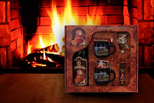 Feuerzangentasse Geschenkset blau Winter - Wurzelholz-Design