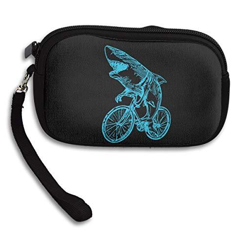 Iop 90p Geldbörse/Handtasche mit Reißverschluss, Motiv Hai auf dem Fahrrad, Schwarz, Einheitsgröße
