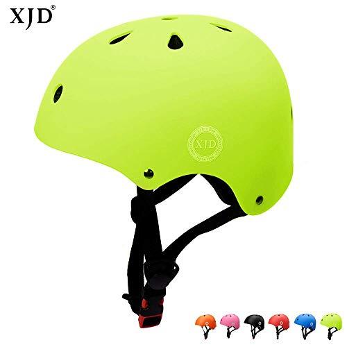 XJD Casco de Ciclismo para Niños Ajustable y Resiste al Impacto Ventilación con Muchos Colores -para Multideportivo Patineta Bicicleta Rollerskate Ciclismo(Amarillo, M)