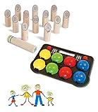Juego de juegos de jardín para exterior, juegos para toda la familia, juego de números de madera y Boccia de plástico duro (fabricado en la UE)