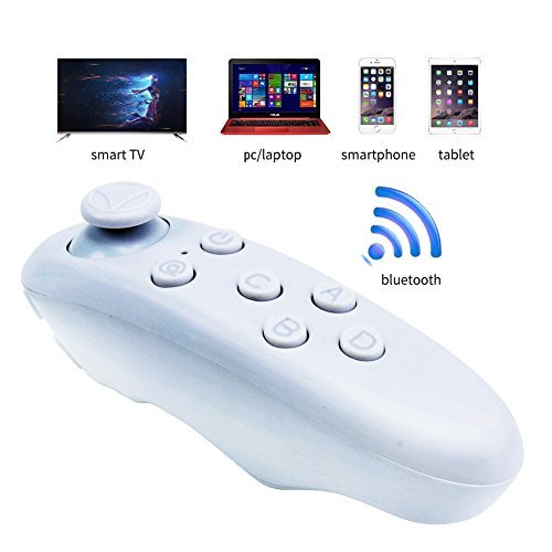 LONSUN Universal Portable Wireless Bluetooth Remote Controller Gamepad For 3D VR Glasses Virtual Reality Headset PC Smartphones Compatible with Android System (white)