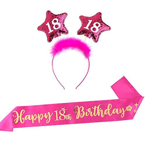 FLOFIA Rosa 18 Geburtstag Schärpe Happy 18th Birthday Haarreif 18 Krone Geburtstag Stirnband Haarband Damen Mädchen Accessoires 18 Birthday Scherpe Rosa