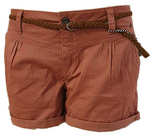Eight2Nine Hot Pant Damen Bermuda Short tiefer Bund Aufschlag und Flechtgürtel Soft Washed (S, Rose)