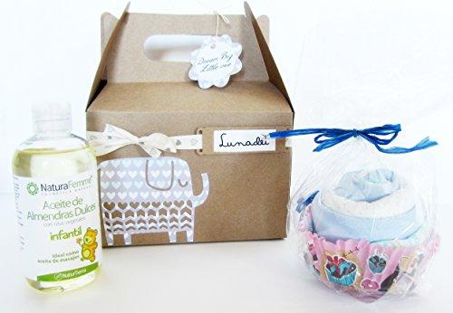 Cadeau original pour bébé – Boîte avec Maxi Cupcake (fabriqué avec un body en coton de marque + 1 couche DODOT) et huile d'amande douce naturelle (250 ml) – Ton bleu – Pour enfants.