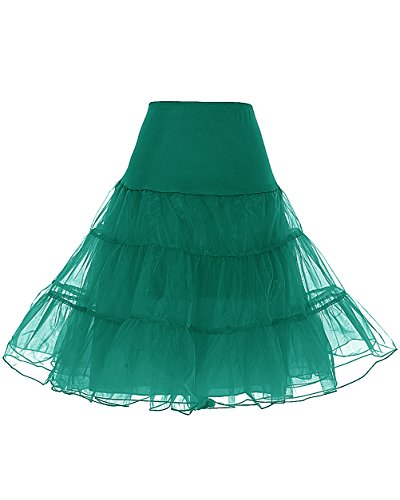 DRESSTELLS Junggesellinnen-Abschied Petticoat Reifrock Unterrock Petticoat Underskirt Crinoline für Rockabilly Kleid Dark Green XL