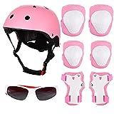 FORMIZON Set de Protección Infantil, Set de Protección Patinaje, Ajustable Casco Rodilleras Coderas y Muñequeras Niño Gafas de Sol para Bicicleta Patinaje Esqui Scooter (Rosa)