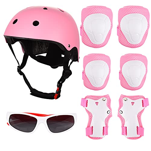 FORMIZON Einstellbar Protektoren Kinder, Schonerset Kinder Protektoren Gear Set Helm Kit, Kinderhelm Skateboard Helm mit Schützer und Sonnenbrille, Knieschoner Set für Mädchen & Jungen