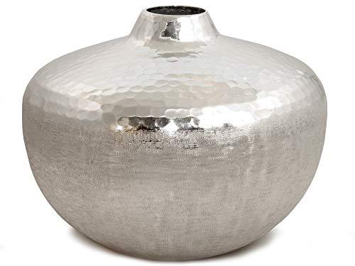 Werner Voss Vase Two Tone - Runde Designervase Silber Aluminium gehämmert - D 25 cm - Edle Dekovase Vase Dekoration modern Design