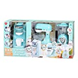 Playgo Children's Gourmet Kitchen Appliances Playset- Battery Operated Mixer, Water Dispensing Coffee Maker, and Pop-Up Toaster (Aqua)