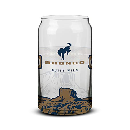 Ford Bronco Can Shaped Beer Glass with Tapered Edges, Clear Glass With Bronco...