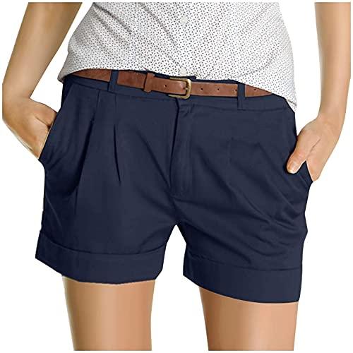 riou Pantalones Mujer Cortos Verano Casuales Pantalones de Playa, Pantalones Rectos con Bolsillo Deportes Cómodo y Suave para Fitness,Jogging
