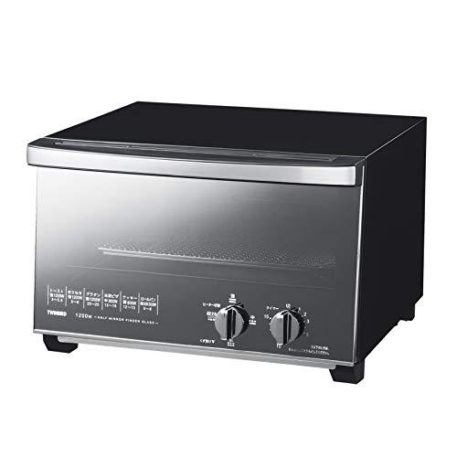 ツインバード ミラーガラス オーブントースター ブラック トースト 4枚 出力切替(300W~1200W) TS-D047B