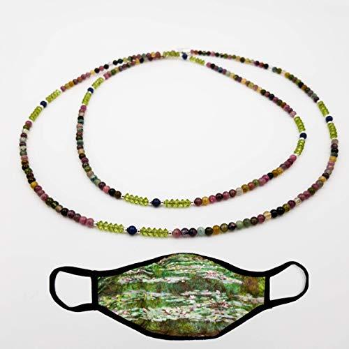 Kette und Mund Nase Abdeckung - charakterperle Design Edelsteinkette inspiriert von Claude Monet'Die japanische Brücke' - rosa Turmalin grün Peridot blau...