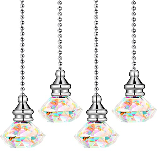 4 Pieces Diamond Crystal Ceiling Fan Pull Chain Rainbow Pull Chain Maker Pull Chain Extension with Connector for Bathroom Toilet Light Ceiling Light Fan