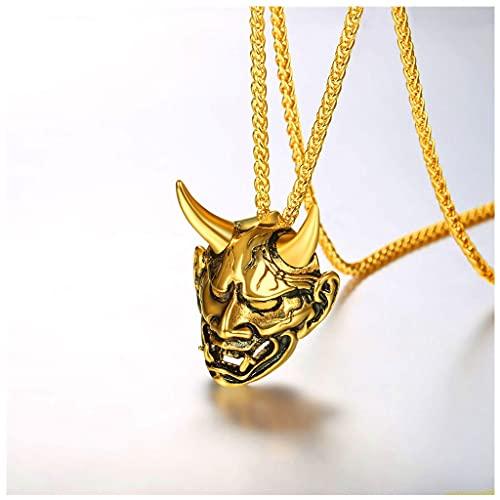 Hombres Joyas góticas Silver Silver Silver Silver Demon Demon Horn Cráneo Colgante Colgante (Color : Oro)