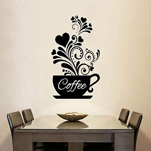 Arte Mural Taza de café Amor Vinilo Pegatina Restaurante Cocina Personalizada DIY Decoración del Hogar Arte Pegatina 33X57Cm Creativa Pared Pegatinas