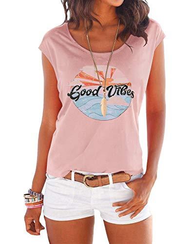 YOINS T-Shirt Damen Shirt Oberteile Sexy Oberteil für Damen Tops Sommer Einfarbig Ärmellos Rundhals mit Sterne See-Pink L
