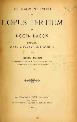 Un fragment inédit de l'Opus tertium de Roger Bacon - 1909  (French Edition)