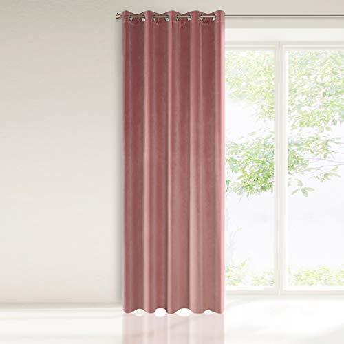 Eurofirany Samt Vorhang Velvet Dunkelrosa Einfarbig Glatt 10 Metallösen 290 g/m2 1 STK. Flauschig Weich Modern Klassisch Wohnzimmer Schlafzimmer, Polyester, 140x250cm