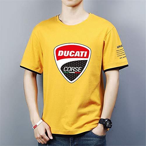Herren Poloshirt T Shirts Polohemd Kurzarm - 3D Ducati Lässige Unisex Golf Hemden Arbeit Sport Tshirt - Teen Geschenke,Gelb,M